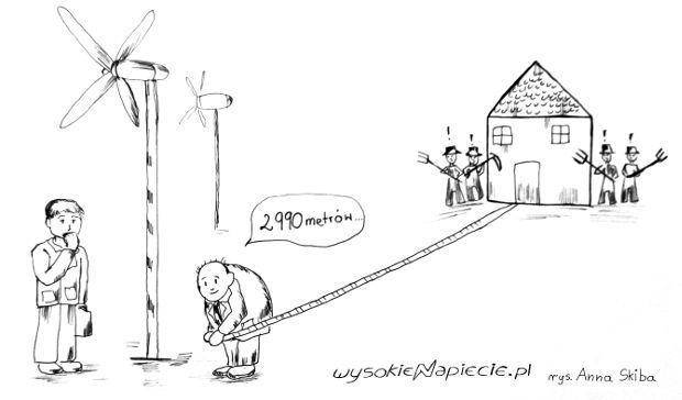 Ustawa przewiduje dla wiatraków minimalną odległość 3 km od domów